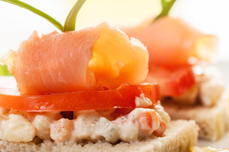 Sandwich with smoked salmon and vegetable salad photo