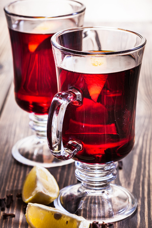 Mulled wine in the glasses, focus on the first glass