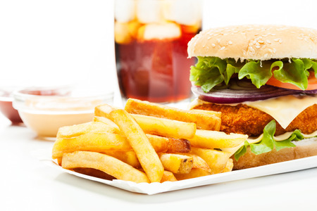 beef burger: Chicken burger and glass of cola with ice Stock Photo