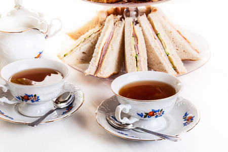 high tea: High tea set with dessert afternoon tea set Stock Photo
