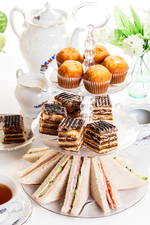 dessert stand: High tea set with dessert afternoon tea set Stock Photo
