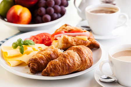 morning breakfast: Morning breakfast witch croissant, cheese and hot coffee Stock Photo
