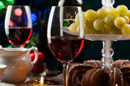 high tea: High tea set with dessert on festive table Stock Photo