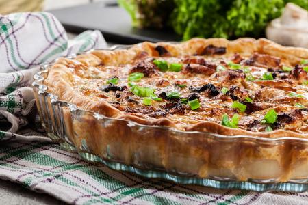savory: Savory tart with chicken, mushrooms and cheese