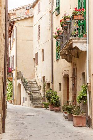 pienza: The streets of the old Italian city of Pienza, Tuscany, Italy