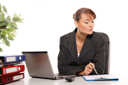 clr: Businesswoman in the office Stock Photo