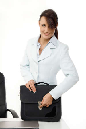Young businesswoman with briefcase Stock Photo