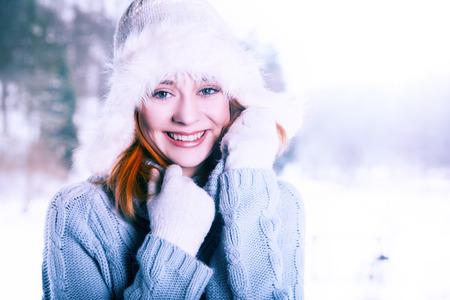 beautifull: Beautifull woman on the winter background