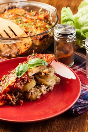 served: Potato casserole served on a plate Stock Photo