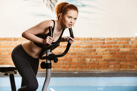 crosstrainer: Active young woman doing exercise on bicycle at home. Fitness and weight loss concept.