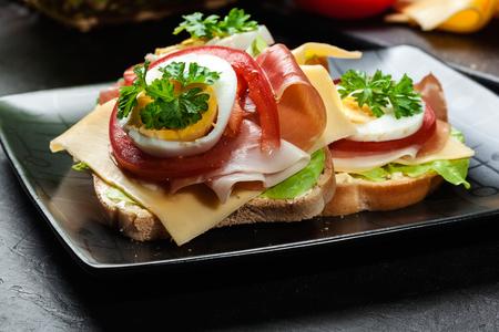 junk: Delicious sandwich with prosciutto ham, cheese, tomato and egg on black background