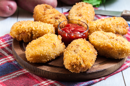 Homemade croquettes of jamon ham.Traditional Spanish food