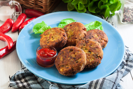 Aloo Tikki or cutlet. Indian snack made of boiled potatoes and various spices