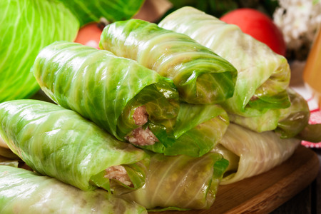 Stuffed cabbage with meat and rice prepared for cooking