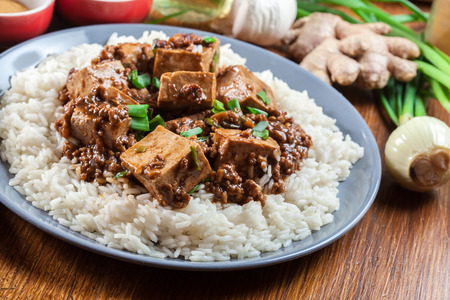 Mapo Tofu - traditional sichuan spicy dish served with rice. Chinese cuisine