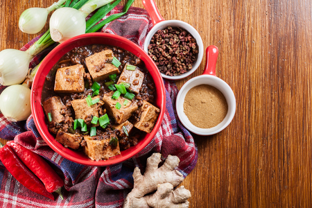 Mapo Tofu - traditional sichuan spicy dish. Chinese cuisine. Top view Imagens