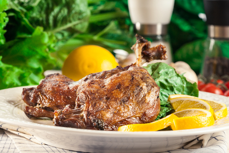 Duck legs confit with orange and salad on a white plate Stok Fotoğraf
