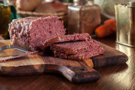 Delicious sliced corned beef on cutting board Stock Photo