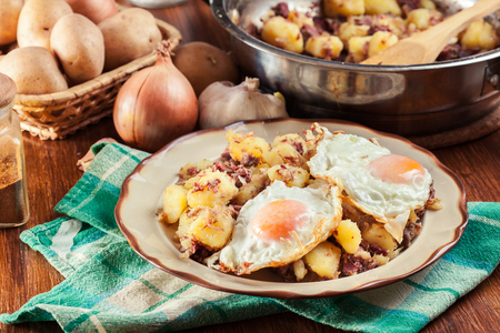 Delicious corned beef hash on a plate