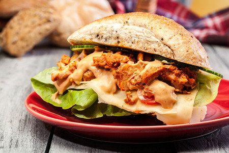 Kebab sandwich - fried chicken meat with cheese and vegetables in bun Stockfoto - 116123817