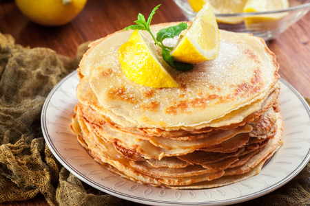 British pancakes with lemon and sugar. Traditional for Shrove Tuesday Stock Photo