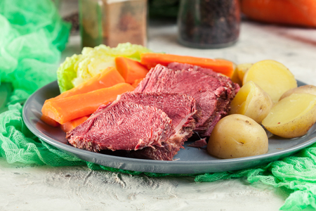 Corned beef and cabbage with potatoes and carrots on St Patrick's Day