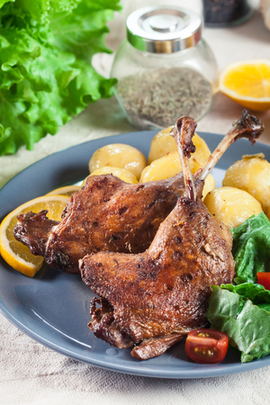 Duck legs confit with boiled potatoes and salad on a plate