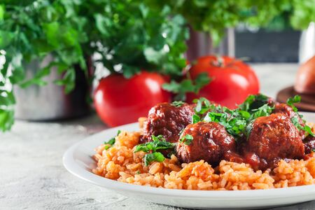 Meatballs with tomato sauce and red rice. Spanish and Mexican dish