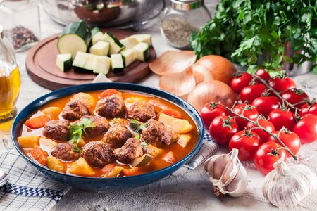 Albondigas - tomato soup with meatballs and vegetables. Spanish and Mexican dish