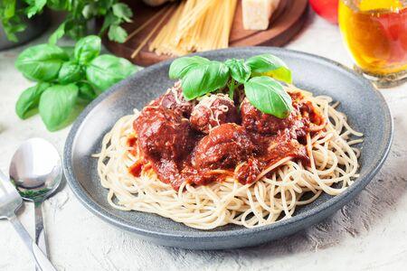 Spaghetti pasta with meatballs and tomato sauce. Italian dish Reklamní fotografie