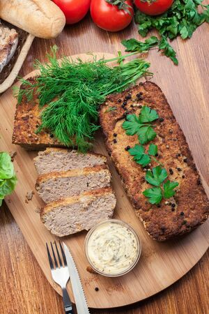Traditional delicious meat pate with chicken liver on cutting board. Top view Imagens