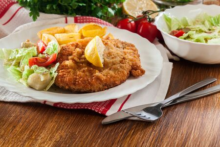 Breaded viennese schnitzel with baked potatoes and salad. European cuisine Banco de Imagens