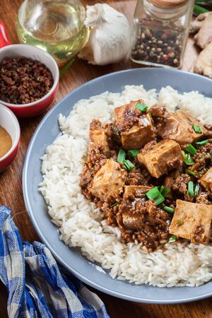 Mapo Tofu - traditional sichuan spicy dish served with rice. Chinese cuisine. Top view Stok Fotoğraf