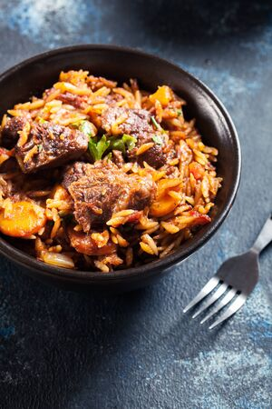 Giouvetsi - Greek beef and orzo stew. Balkanian cuisine