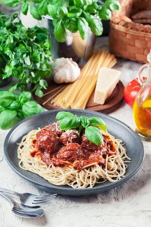 Spaghetti pasta with meatballs and tomato sauce. Italian dish Stock fotó