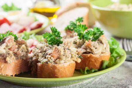 Kanapki lub bagietka z pastą zawierającą makrelę, łososia i jajka. Zdrowe śniadanie Zdjęcie Seryjne