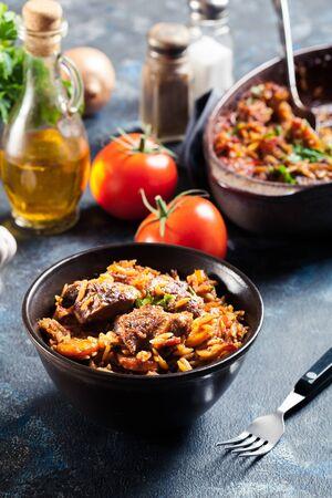 Giouvetsi - Greek beef and orzo stew. Balkanian cuisine