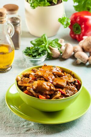Fresh turkey ragout with mushrooms in creamy sauce