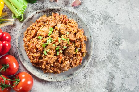 Chicken jambalaya - spicy rice with chicken a nd sausage. Creole dish
