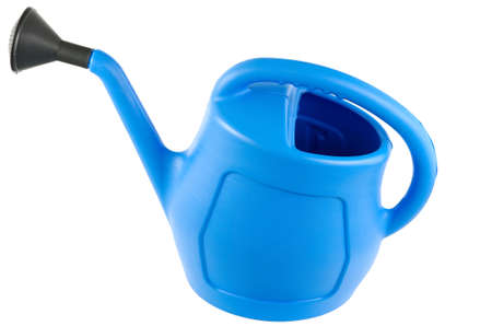 Blue plastic watering can isolated on white background