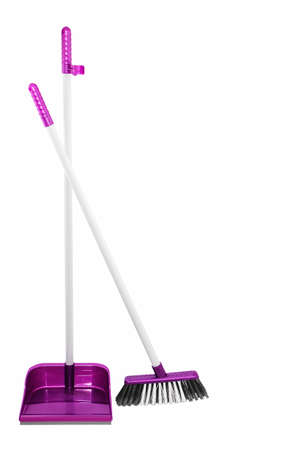 broom handle: Cleaning tools broom and shovel Stock Photo