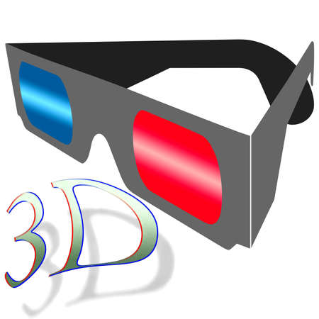 stereoscopic: Anaglyph 3D glasses on a white background