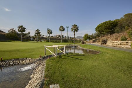 beautiful landscape with blue sky and a beautiful green in golf club with lake and bridge on the grass