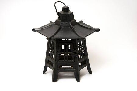 beautiful old black candle holder on white background Reklamní fotografie