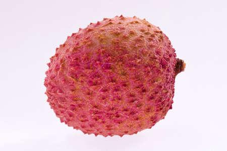 Lychee. Ripe fresh lychee on white background in photo studio