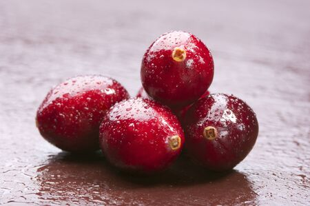 retouched: Wet wild cranberries with droplets on wooden background. Studio shot retouched Stock Photo