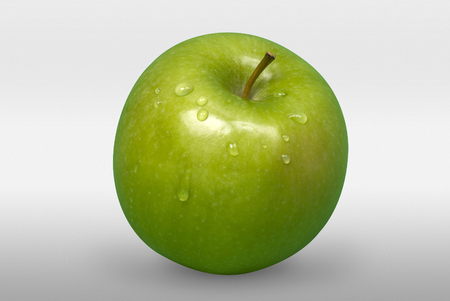 green apple: Tasty green apple with drops on white background  Stock Photo