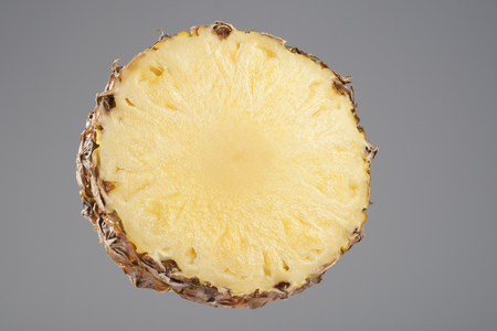 cross section: Pineapple, Cross Section, Fruit, Slice, Circle, Gray Background