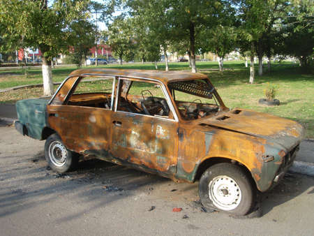 utilization: old sovietic fire-damaged auto  utilization Stock Photo