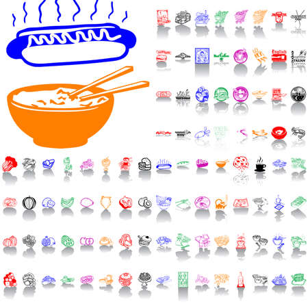 Food and drink. Part 1. Isolated groups and layers. Global colors.   Vector